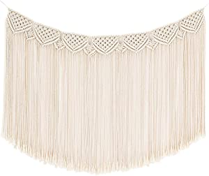 Fowecelt Macrame Wall Hanging Woven Large Boho Chic Wall Decor, Bohemian Cotton Handmade Macrame Backdrop Home Decoration for Wedding Living Room Bedroom Apartment Gallery, 32