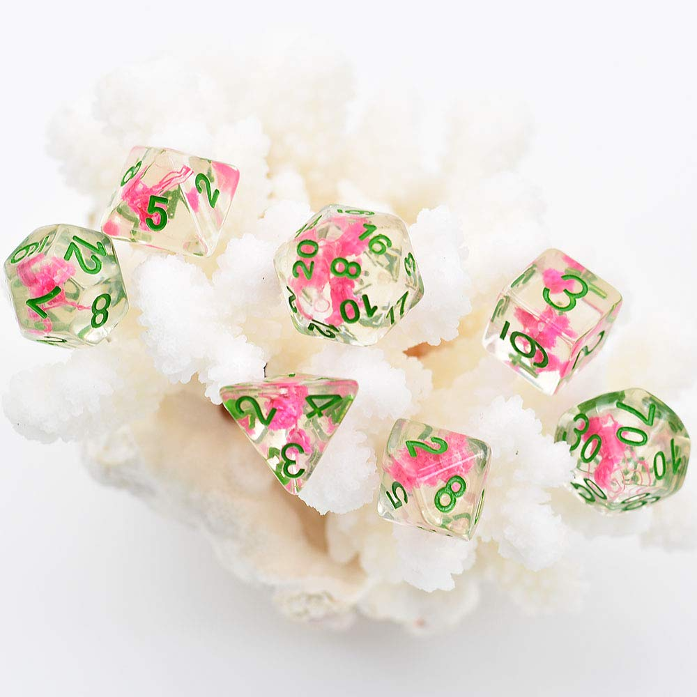 cusdie Pink Flowers Dice Polyhedral Dice DND Dice Sets for Dungeons and Dragons MTG RGP Role-Playing Tabple Game