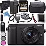 Panasonic Lumix DMC-GX85 DMCGX85 Digital Camera with 12-32mm Lens + 37mm 3 Piece Filter Kit + DMW-BLG10 Lithium Ion Battery + External Rapid Charger + Sony 128GB SDXC Card Bundle