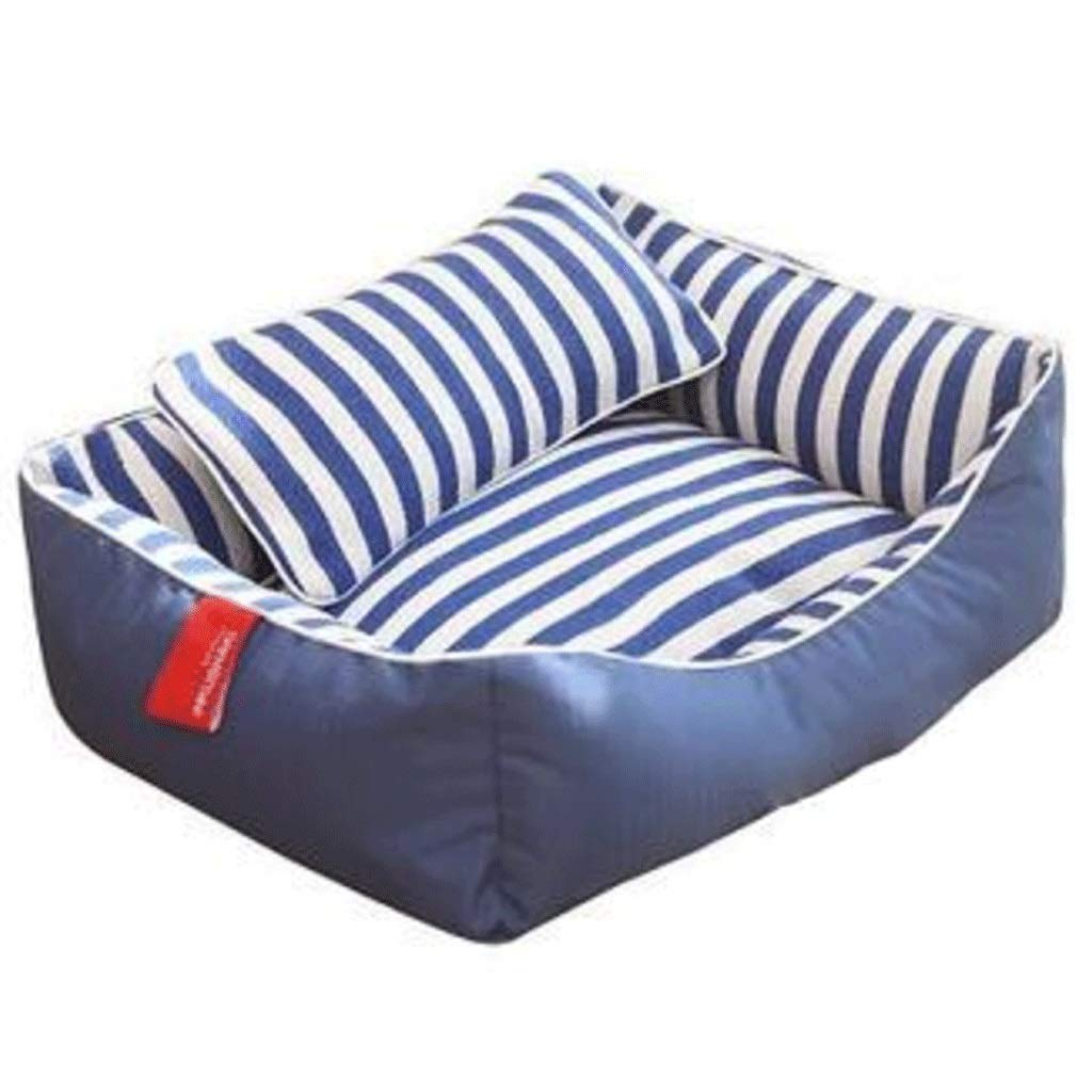 MMAWN Blue Orthopedic Dog Bed - with Grooved Orthopedic Foam, Comfy Cotton-Padded Rim Cushion and Nonslip Bottom (Size : XL)