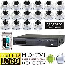 USG HD-TVI 16 Camera 1080P CCTV Kit: 16x TVI 1080P 2MP 2.8-12mm Vari-Focal Lens Dome Cameras + 1x 16 Channel 1080P @ 30FPS HD-TVI 1080P DVR + 1x 3TB HDD *** High Definition Video Surveillance For Your Home or Business