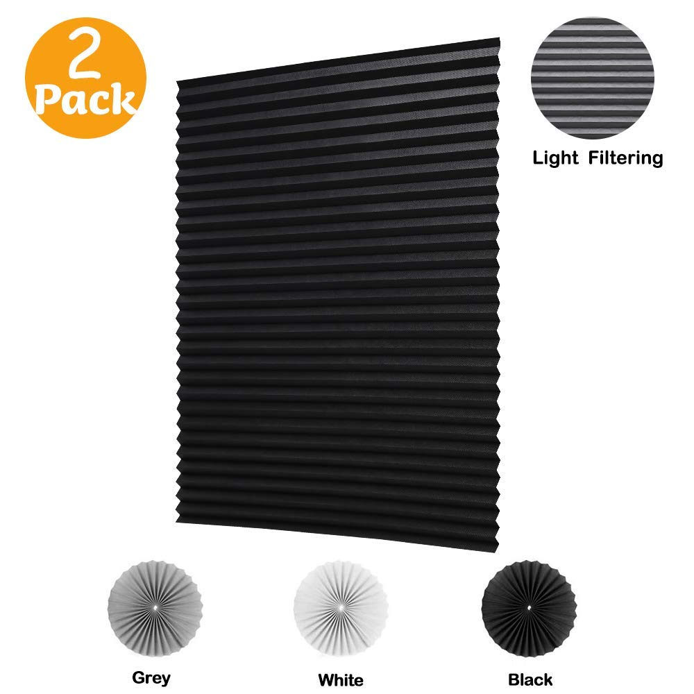 LUCKUP 2 Pack Cordless Light Filtering Pleated