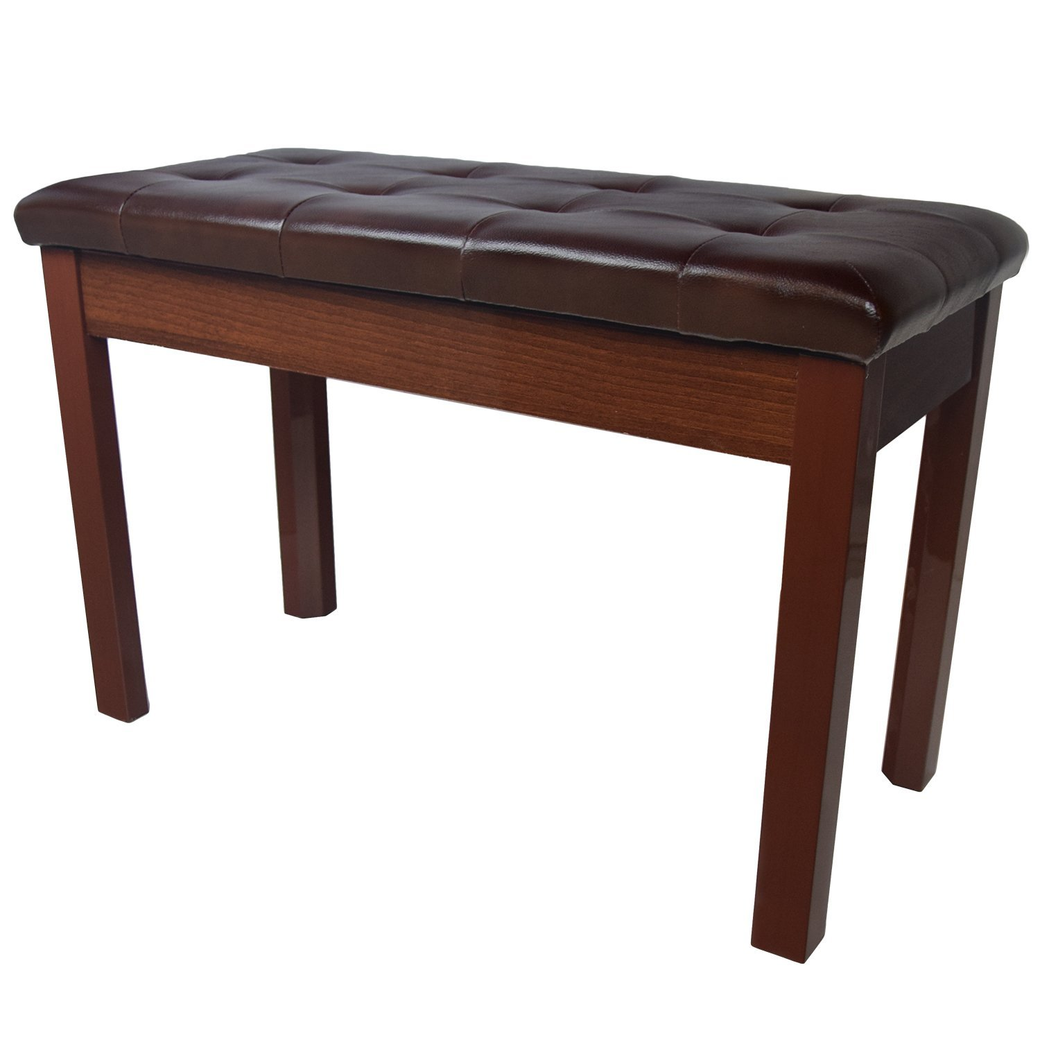 Chromacast Padded Wooden Double Size Piano Bench, Walnut CC-WBENCH-WAL-D