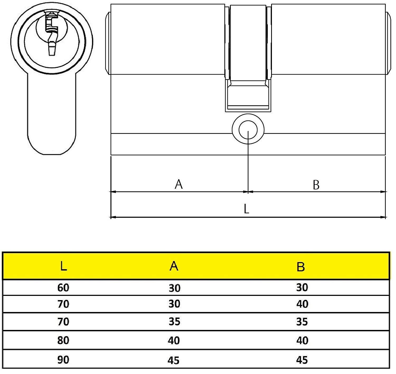 YL5 Cilindro Est/ándar 30 x 40 mm Yale Llave Leva Corta Y53040HNLC No Niquelado Llave