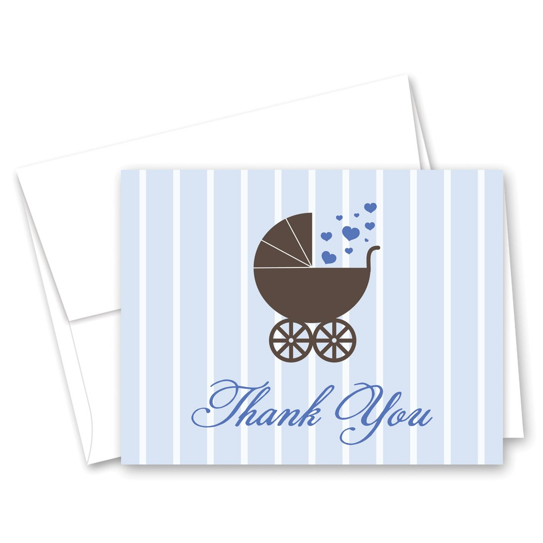 50 Cnt Lovely Blue Carriage Baby Shower Thank You Cards