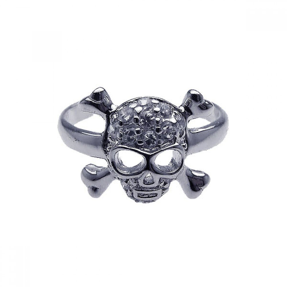 Exquisite Sterling Silver Rhodium Plated Clear CZ Skull Cross Bone Toe Ring -