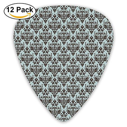 Newfood Ss Damask Shapes Motif Western Modular Leaves And Rayon Curving Lines Creative Floral Guitar Picks 12/Pack Set