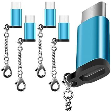 5 Pack Adaptador Tipo C USB-C con 5 colores, AFUNTA USB C a Micro USB Conector Convertir Cargador rápido con llavero para Samsung Galaxy S8 Nuevo ...