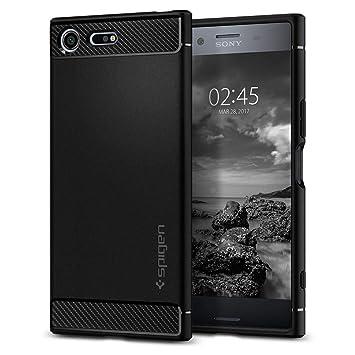 premium selection 9b082 a64ac Spigen [Rugged Armor] [Black] Case for Sony Xperia XZ Premium, Original  Patent Carbon Fiber Design Flexible TPU Phone Cover for Xperia XZ Premium  ...
