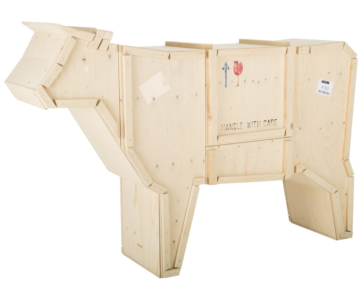 Seletti sending animals wooden furniture cm 225x58 h 151 cow wood natural beech 225x58x151 cm amazon co uk kitchen home