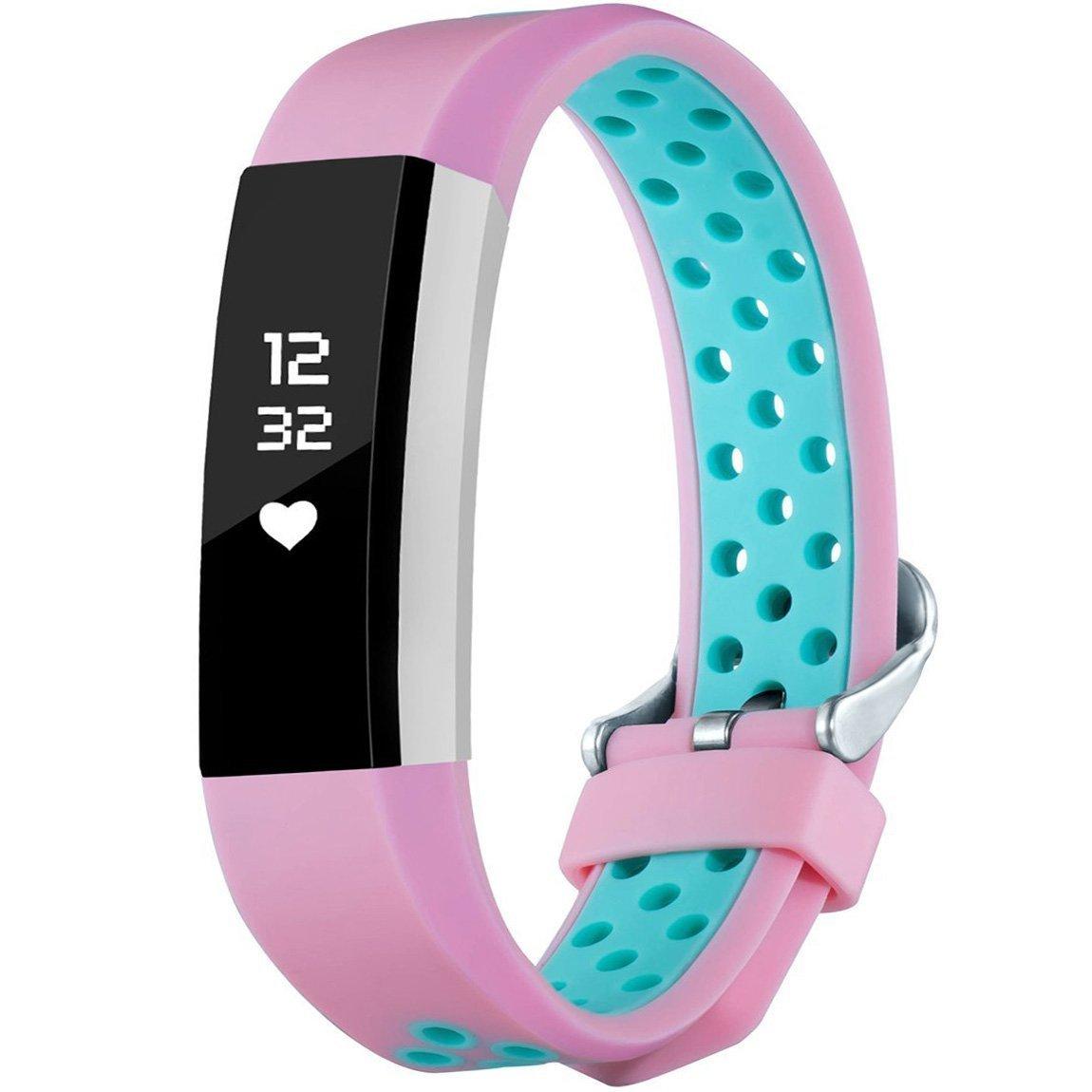 Findway for Fitbit用Aceバンドキッズボーイズガールズティーン、シリコンスポーツバンド交換用ブレスレット手首ストラップアクセサリーバンドFitbit Ace Fitness Smart Watch B07DD89XQX Pink/Teal One Size