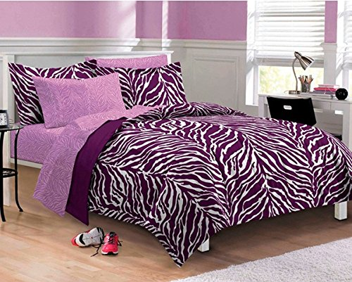5 Piece Girls Purple Zebra Themed Comforter Twin XL Set, Stylish All Over Zoo Animal Jungle Print Bedding, Girly Multi African Safari Animals Exotic Wildlife Pattern, Plum Violet Lavender White Black