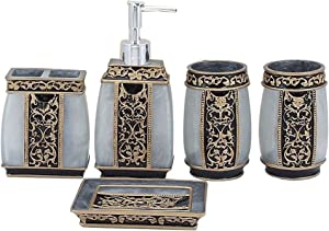 LUANT Creative Bath Ensemble, 5 Piece Bathroom Accessories Set, Collection Bath Set Features Soap Dispenser, Toothbrush Holder, Tumbler, & Soap Dish- Silver