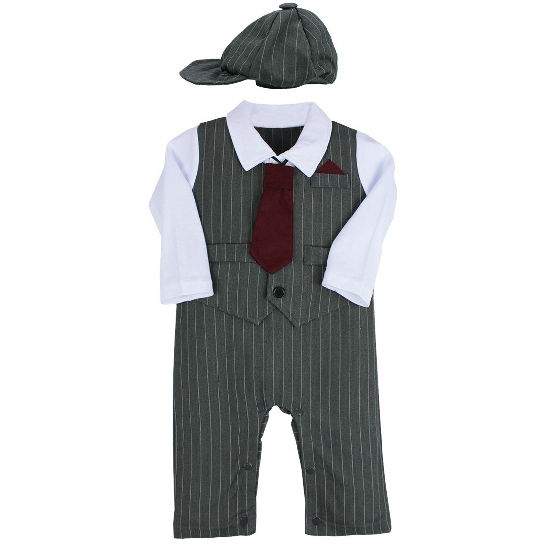 iiniim Baby Boys Long Sleeves Tuxedo Necktie One-Piece Gentleman Romper Outfit Formal Clothes