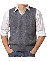 Lisianthuas Mens' Argyle V-Neck Sweater Vest