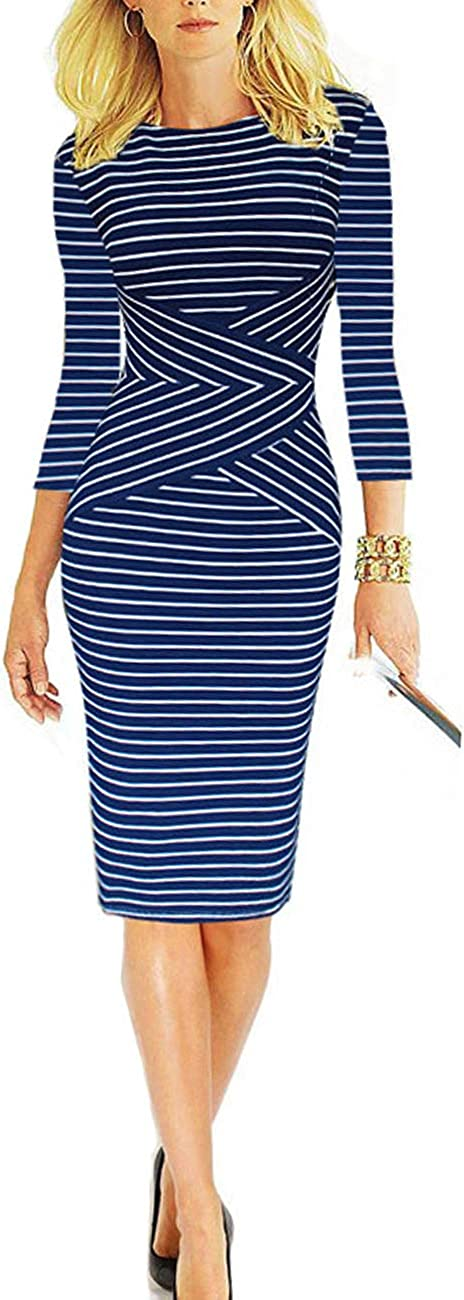 AUOMITH Women Crew Neck Office Pencil Dress 3/4 Sleeve Striped Work Wear Cocktail Business Knee Length Dress