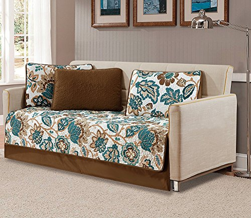 Fancy Collection 5pc Day Bed Quilted Coverlet Bedspread Set Floral White Brown Teal Reversible New