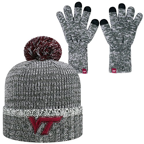 (Top of the World Virginia Tech Hokies Official NCAA Combo Frostbite Cuffed Stocking Stretch Knit Sock Hat Cap Beanie and Gloves)