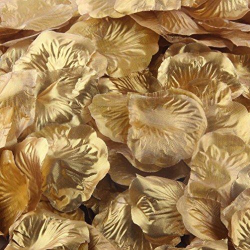 PHOTNO 1000pcs Rose Petals Artificial Flower Wedding Favor Bridal Shower Aisle Vase Decor Confetti (Gold)