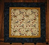 "Chickadee Bird Quilted Table Topper Wall Hanging, 21 x 21"", Reversible 100% cotton fabric"