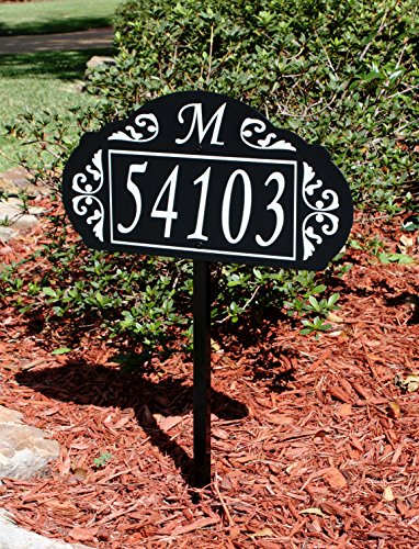 Address America Le Paris Custom Address Sign Plaque USA Hand Crafted Sturdy Metal Yard Sign with 100% Reflective House Numbers, Monogram - Elegant Lawn Signage for 911, delivery 24/7 Visibility ()