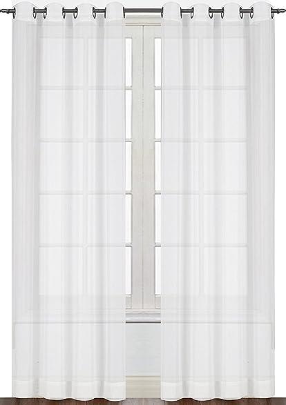 Premium White Sheer Curtains Sheer Voile White Luxurious High Thread Window  Groomet Curtains 2 Panel Set
