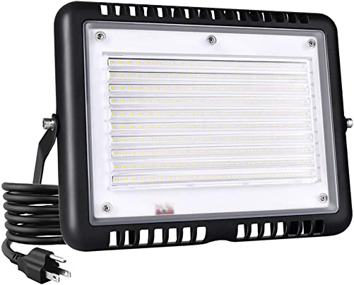 Wosen 100W LED Flood Light, IP65 Waterproof , 10000lm, 5000K-6000K Daylight White, Super Bright Outdoor Security Floodlight for Playground, Garage, Garden, Lawn and Yard Model No.PJ1403