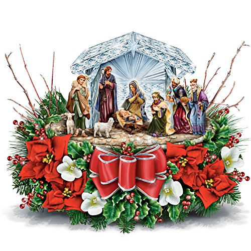 Thomas Kinkade O Holy Night Illuminated Crystal Nativity Scene Table Centrepiece by The Bradford Exchange