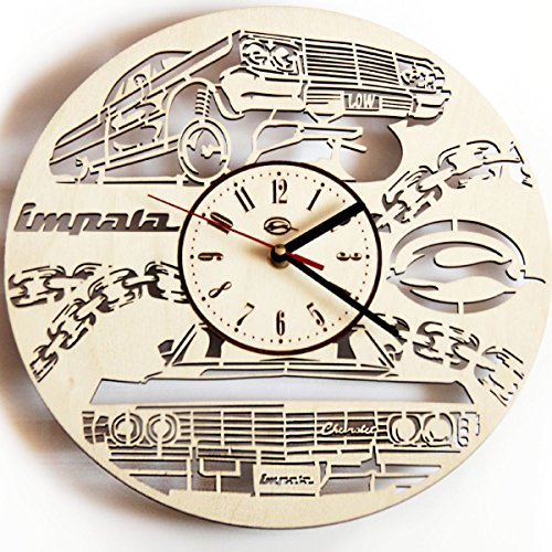 Impala Wood - Impala Wood Wall Clock - Original Home Decor For Living Room Bedroom Kitchen - Best Gift Idea For Friends Business Partners Neighbour Boys and Girls - Unique Wall Art Design - Size 12
