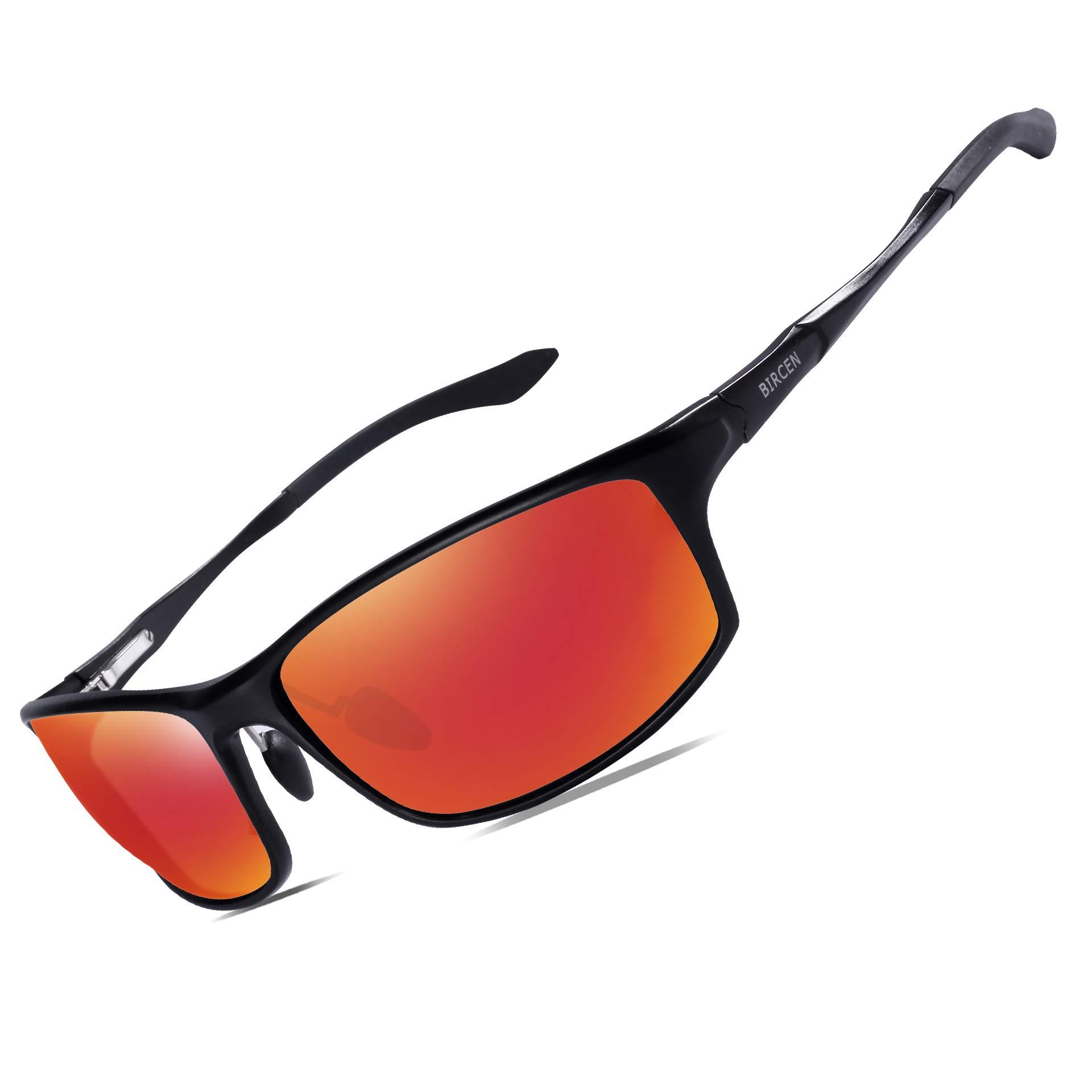 Bircen Polarized Sunglasses for Men Women UV Protection Driving Golf Fishing Sports Sunglasses (Black Frame Orange Lens) by Bircen