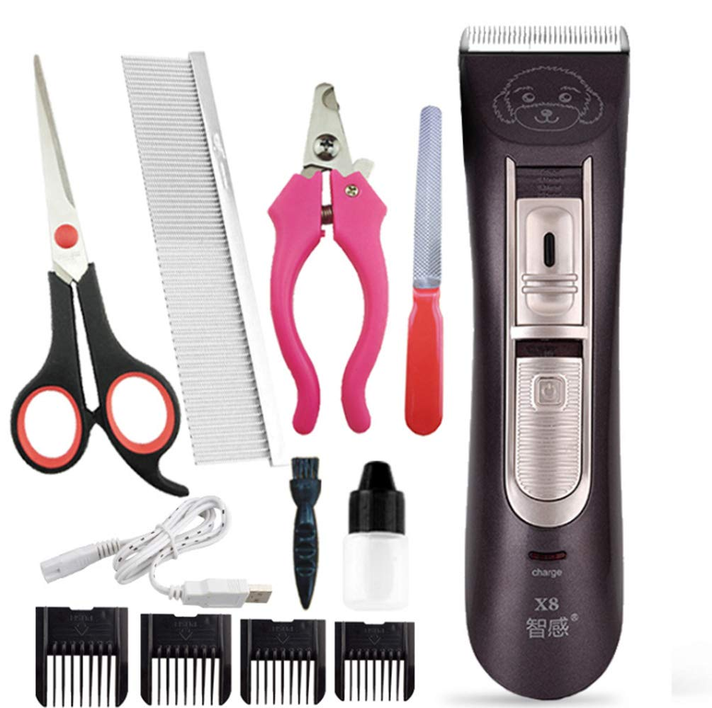 Pet Grooming Hair Clipper Set Cordless Low Noise Low Vibration Hair Razor Detachable Blade Electric Hair Clipper Fine-tuning Kit Tool Cat Dog Pet