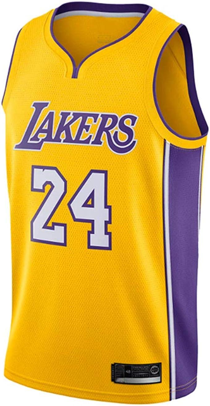 AMJUNM Uomo Donna Lakers 24# Kobe Bryant Jersey Maglia da Basket Traspirante Canotte da Basket