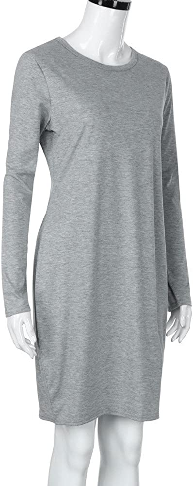 Robe de maternit/é classique basique T-shirt Robes pour la grossesse Femmes Casual Manches Longues Droites Robe Photographie Accessoires Couleur unie Mini Robe V/êtements de Nuit Robe Pull