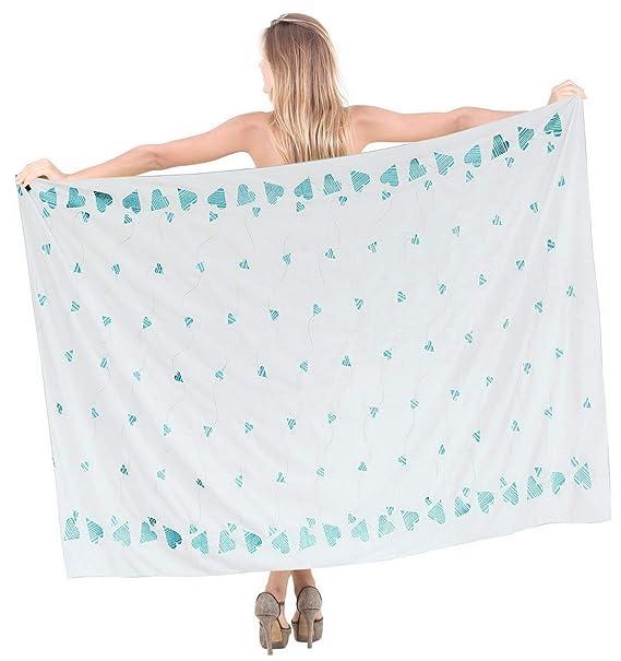 "7eeaf964c8 LA LEELA Cotton Bathing Swimsuit Women Wrap Sarong Solid 70""X40""  White_2181"