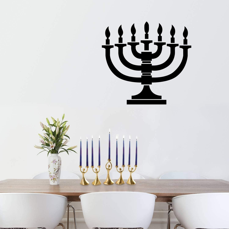 """Vinyl Wall Art Decal - 7 Menorah Candles - 21"""" x 23"""" - Jewish Holiday Candelabrum Decoration Sticker - Indoor Outdoor Home Office Wall Door Window Bedroom Workplace Decor Decals (21"""" x 23"""", Black)"""