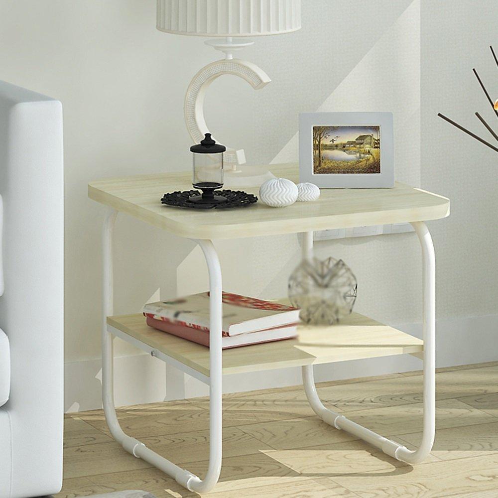 YNN ポータブルテーブル コーヒーテーブルダイニングテーブルシンプルでモダンなダブルレイヤーの木製リビングルームシンプルな組み合わせミニ小さなテーブルアセンブリ50 * 50 * 47.5cm (色 : B)  B B07PJN9FB8