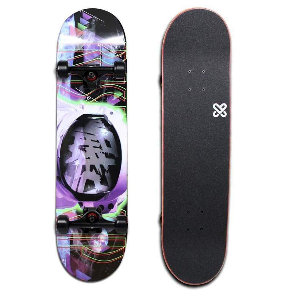 LRLTERRY スケートボードベーシックスケートボード四輪スケートボードプロスケートボード初心者80×20cmスケートボード (Color : A) A
