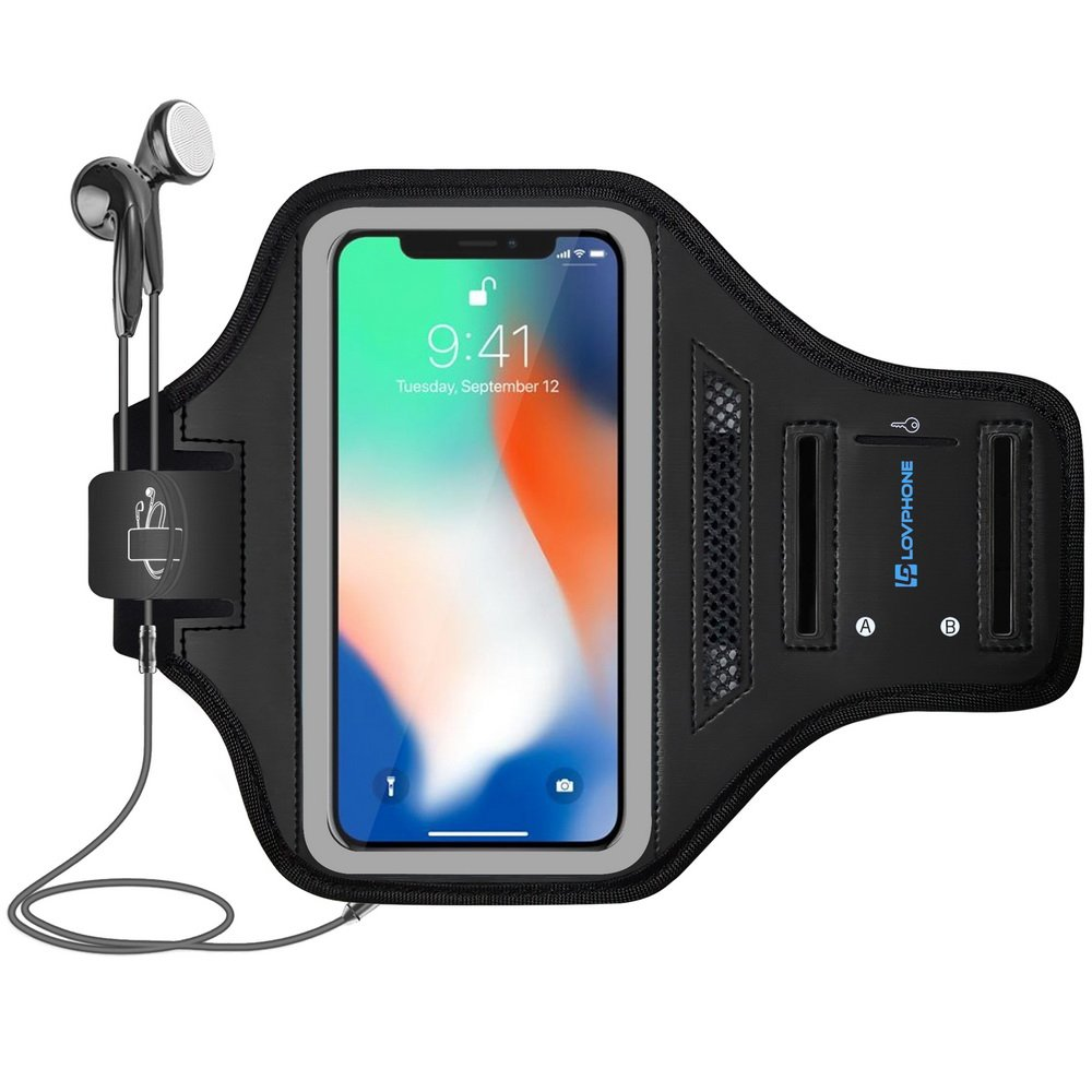 LOVPHONE iPhone X/XS Armband - Running Armband for iPhone X/iPhone Xs/Galaxy S10e 5.8 Inch, Waterproof Sport Outdoor Gym Running Key Holder Card Slot Phone Case Bag Armband (Gray)