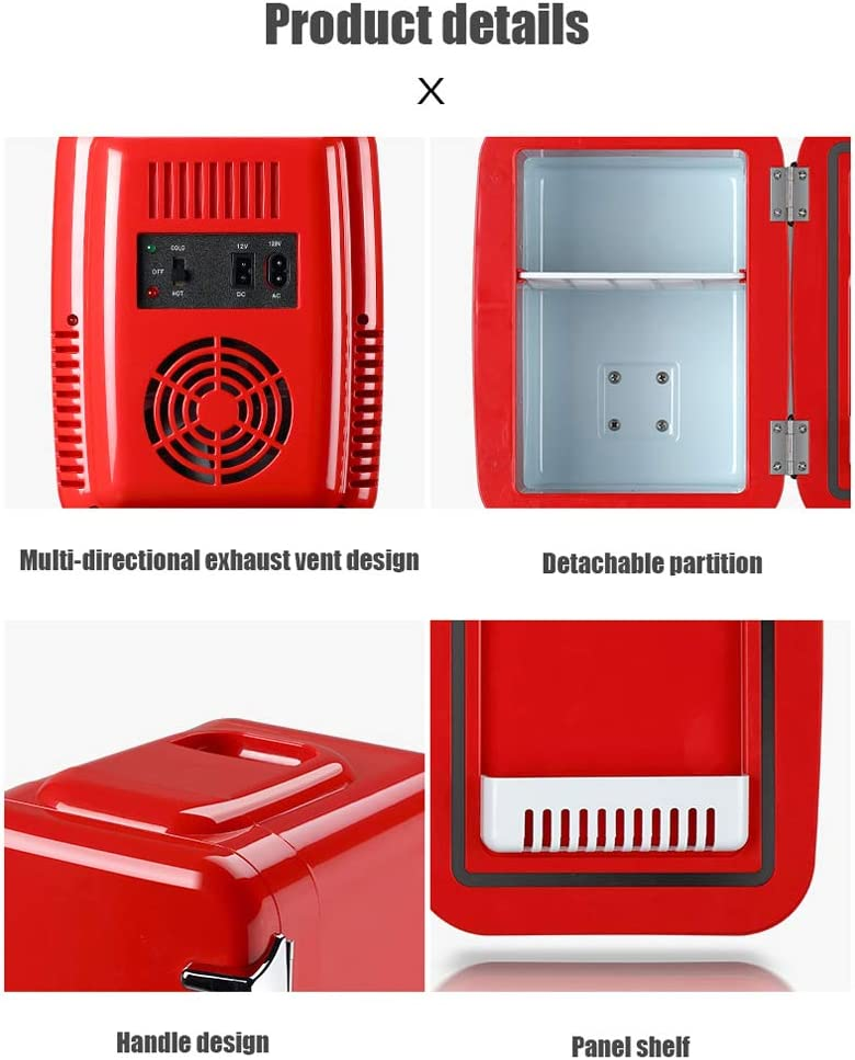Uso del autom/óvil Refrigerador portatil Lxn Mini Nevera 4L Mute Reefer Cooler Box and Warmer 6 latas de 330ml (Rojo)