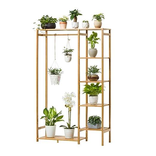 Soporte de exhibición de la planta, Estante de la planta de bambú ...