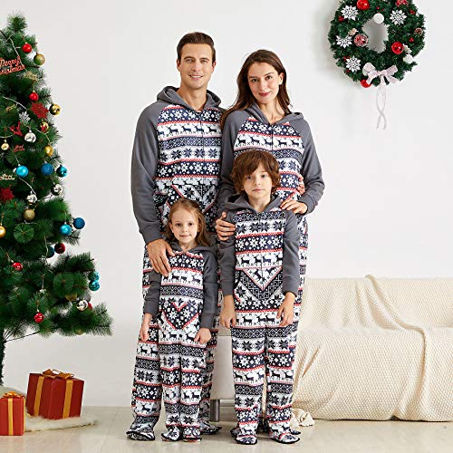 Yaffi Family Matching Pajamas Christmas Festival Footed Pyjamas Hoodie Jumpsuit Onesie Fleece Snowflake Sleeper PJs