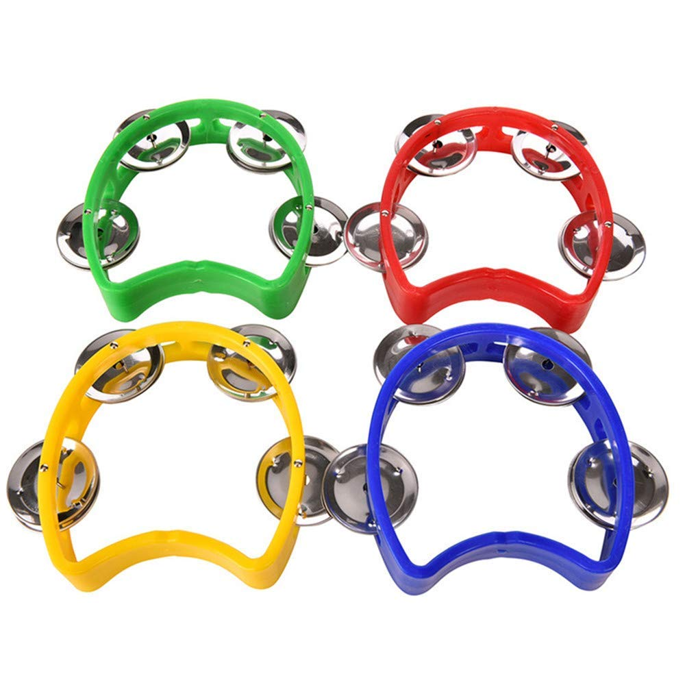 MOTZU 4 Pack Plastic Musical Percussion Tambourines, Dual Alloy Recording Combo Tambourine, Cutaway Half Blossom with 4 Bells Comfortable Teaching Toys for Kids, Adults, Multicolour by MOTZU