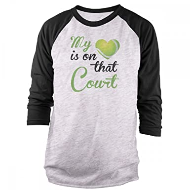 a4910dd0f1658 Amazon.com: Vine Fresh Tees - My Heart is On That Court - Tennis 3/4 ...