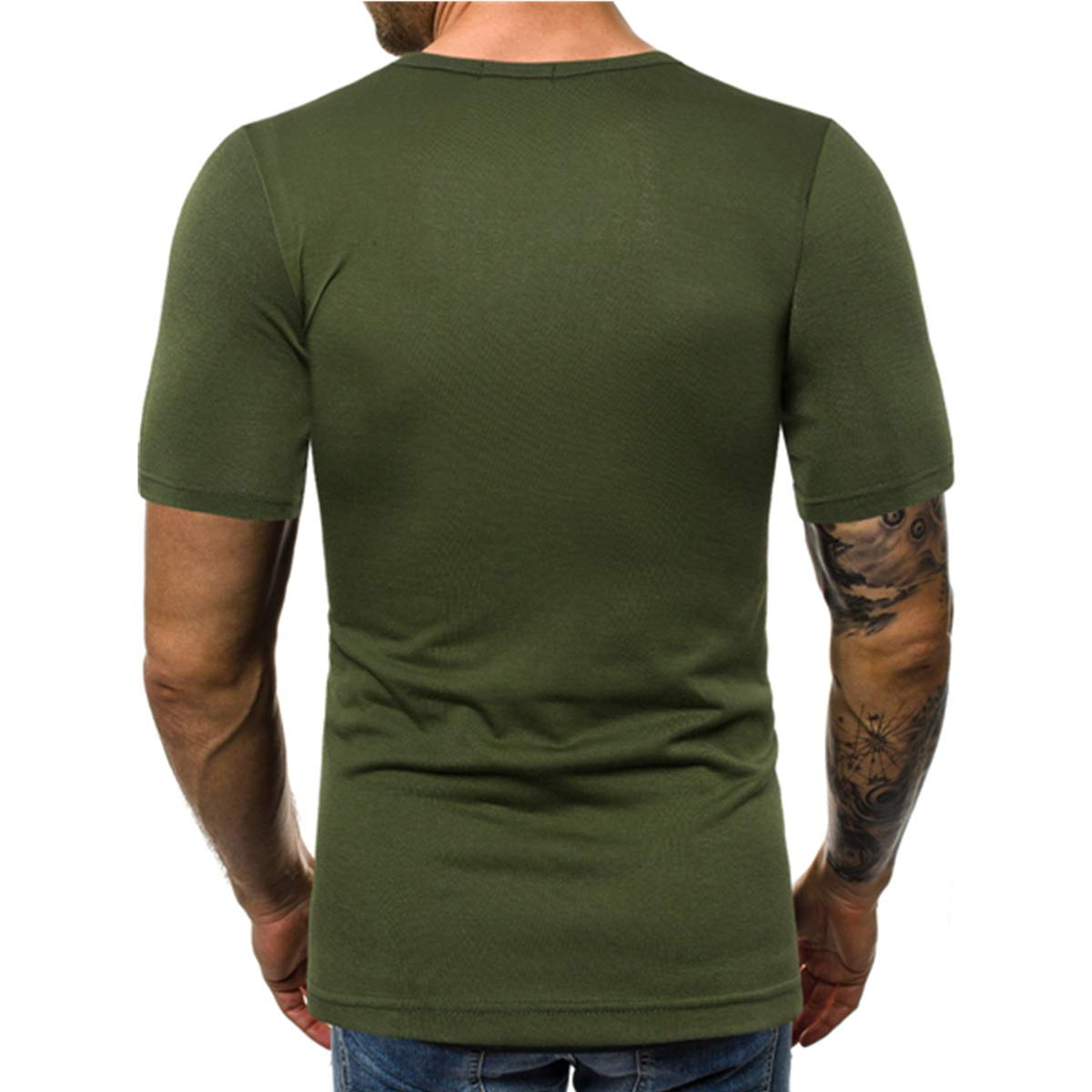 Galy Summer New Mens Slim Shirts Stitching Round Neck Large Size Simple Casual Short-Sleeved Shirts Pullover Top