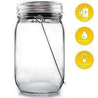 Lacari ® Original Solarglas - Auch Als Gartenleuchte Hängeleuchte - Wasserdichte Solarlampe - Hochwertige Solarleuchte Im Einmachglas - Gemütliches Sonnenlicht - Mason Jar mit Langer Leuchtdauer