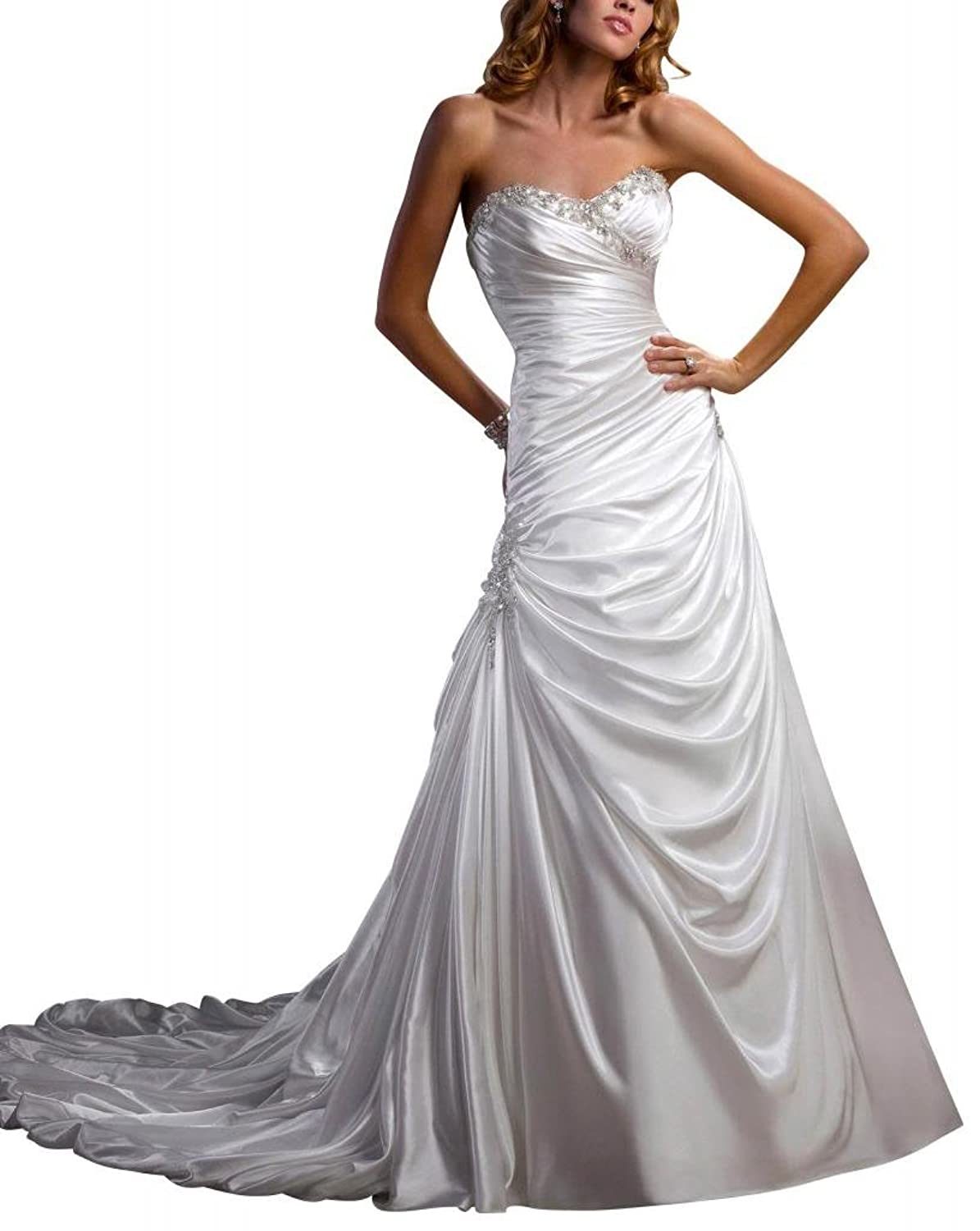 GEORGE BRIDE Charming Sweetheart Chapel Train Satin Wedding Dress