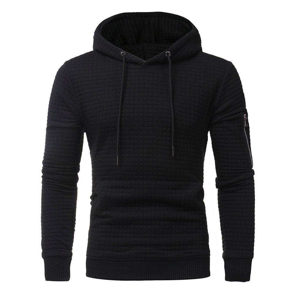 Hoodie For Men,Clearance Sale-Farjing Mens' Long Sleeve Plaid Hoodie Hooded Sweatshirt Tops Jacket Coat Outwear(M,Black)