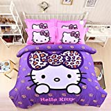 CASA Children 100% cotton series HELLO KITTY Duvet cover & Pillow cases & Fitted Sheet,4 Pieces,Queen