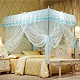 Uozzi Bedding Mosquito Net Bed Canopy-Lace Luxury 4 Corner Square Princess Fly Screen, Indoor Outdoor(Turquoise, Queen)