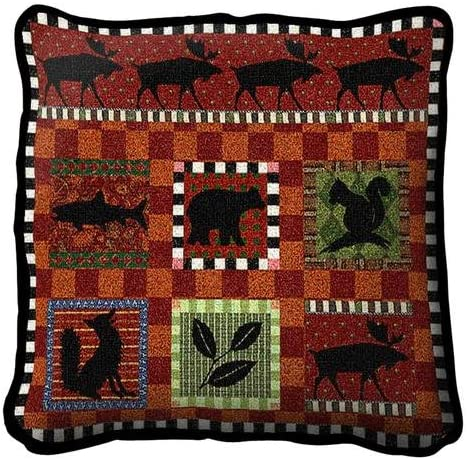 Adirondack Lodge Pillow. 17 inches wide by 17 inches tall, and is woven from 100 cotton.